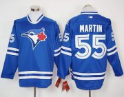Wholesale Cheap Blue Jays #55 Russell Martin Blue Long Sleeve Stitched MLB Jersey