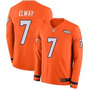Wholesale Cheap Nike Broncos #7 John Elway Orange Team Color Men's Stitched NFL Limited Therma Long Sleeve Jersey