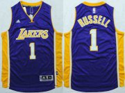 Wholesale Cheap Men's Los Angeles Lakers #1 D'Angelo Russell Revolution 30 Swingman 2015 Draft New Purple Jersey