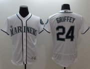 Wholesale Cheap Mariners #24 Ken Griffey White Flexbase Authentic Collection Stitched MLB Jersey