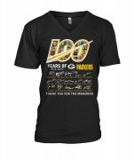 Wholesale Cheap Green Bay Packers 100 Seasons Memories Women's V-Neck T-Shirt Black