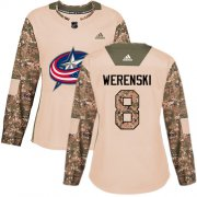 Wholesale Cheap Adidas Blue Jackets #8 Zach Werenski Camo Authentic 2017 Veterans Day Women's Stitched NHL Jersey
