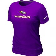 Wholesale Cheap Women's Nike Baltimore Ravens Authentic Logo T-Shirt Purple
