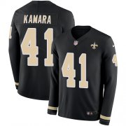 Wholesale Cheap Nike Saints #41 Alvin Kamara Black Team Color Youth Stitched NFL Limited Therma Long Sleeve Jersey
