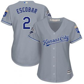 Wholesale Cheap Royals #2 Alcides Escobar Grey Road Women\'s Stitched MLB Jersey