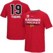 Wholesale Cheap Chicago Blackhawks #19 Jonathan Toews Reebok CI Freeze Supremium Name & Number T-Shirt Red