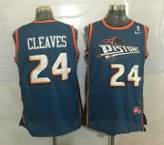 Wholesale Cheap Men's Detroit Pistons #24 Mateen Cleaves Teal Blue Hardwood Classics Soul Swingman Throwback Jersey