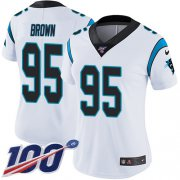 Wholesale Cheap Nike Panthers #95 Derrick Brown White Women's Stitched NFL 100th Season Vapor Untouchable Limited Jersey