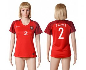 Wholesale Cheap Women\'s Portugal #2 Bruno Alves Home Soccer Country Jersey