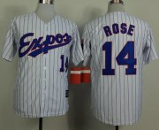 Wholesale Cheap Mitchell And Ness 1982 Expos #14 Pete Rose White(Black Strip) Throwback Stitched MLB Jersey