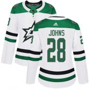 Cheap Adidas Stars #28 Stephen Johns White Road Authentic Women's Stitched NHL Jersey
