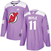 Wholesale Cheap Adidas Devils #11 Brian Boyle Purple Authentic Fights Cancer Stitched Youth NHL Jersey