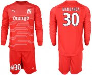 Wholesale Cheap Marseille #30 Mandanda Red Goalkeeper Long Sleeves Soccer Club Jersey