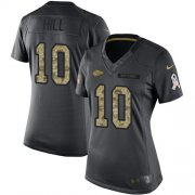 Wholesale Cheap Nike Chiefs #10 Tyreek Hill Black Women's Stitched NFL Limited 2016 Salute to Service Jersey