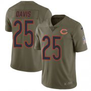 Wholesale Cheap Nike Bears #25 Mike Davis Olive Men's Stitched NFL Limited 2017 Salute To Service Jersey