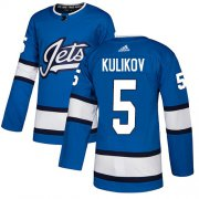 Wholesale Cheap Adidas Jets #5 Dmitry Kulikov Blue Alternate Authentic Stitched NHL Jersey