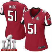 Wholesale Cheap Nike Falcons #51 Alex Mack Red Team Color Super Bowl LI 51 Women's Stitched NFL Elite Jersey