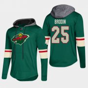 Wholesale Cheap Wild #25 Jonas Brodin Green 2018 Pullover Platinum Hoodie