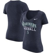 Wholesale Cheap Seattle Mariners Nike Women's Practice 1.7 Tri-Blend V-Neck T-Shirt Heathered Navy