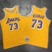 Wholesale Cheap Lakers 73 Dennis Rodman Yellow 1998-99 Hardwood Classics Mesh Jersey
