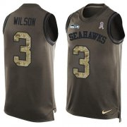 Wholesale Cheap Nike Seahawks #3 Russell Wilson Green Men's Stitched NFL Limited Salute To Service Tank Top Jersey