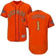 Wholesale Cheap Astros #1 Carlos Correa Orange FlexBase Authentic 2018 Gold Program Cool Base Stitched MLB Jersey
