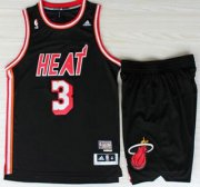 Wholesale Cheap Miami Heat 3 Dwyane Wadet Black Hardwood Classics Revolution 30 Swingman Jerseys Shorts NBA Suits