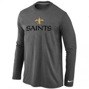 Wholesale Cheap Nike New Orleans Saints Authentic Logo Long Sleeve T-Shirt Dark Grey