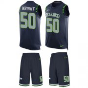 Wholesale Cheap Nike Seahawks #50 K.J. Wright Steel Blue Team Color Men's Stitched NFL Limited Tank Top Suit Jersey