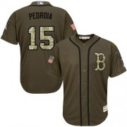 Wholesale Cheap Red Sox #15 Dustin Pedroia Green Salute to Service Stitched MLB Jersey