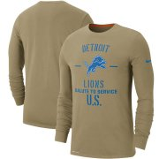 Wholesale Cheap Men's Detroit Lions Nike Tan 2019 Salute to Service Sideline Performance Long Sleeve Shirt