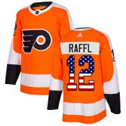 Wholesale Cheap Adidas Flyers #12 Michael Raffl Orange Home Authentic USA Flag Stitched NHL Jersey