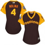 Wholesale Cheap Cardinals #4 Yadier Molina Brown 2016 All-Star National League Women's Stitched MLB Jersey