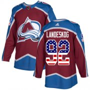 Wholesale Cheap Adidas Avalanche #92 Gabriel Landeskog Burgundy Home Authentic USA Flag Stitched NHL Jersey