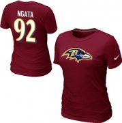 Wholesale Cheap Women's Nike Baltimore Ravens #92 Haloti Ngata Name & Number T-Shirt Red