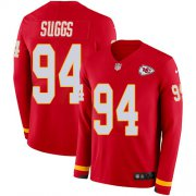 Wholesale Cheap Nike Chiefs #94 Terrell Suggs Red Team Color Youth Stitched NFL Limited Therma Long Sleeve Jersey
