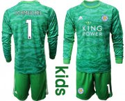 Wholesale Cheap Leicester City #1 Schmeichel Green Goalkeeper Long Sleeves Kid Soccer Club Jersey