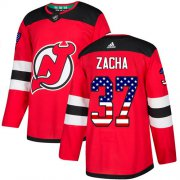 Wholesale Cheap Adidas Devils #37 Pavel Zacha Red Home Authentic USA Flag Stitched NHL Jersey
