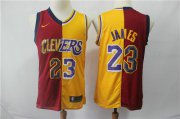 Wholesale Cheap Lakers 23 Lebron James Red Gold Split Nike Swingman Jersey