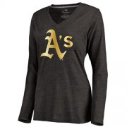 Wholesale Cheap Women's Oakland Athletics Gold Collection Long Sleeve V-Neck Tri-Blend T-Shirt Black