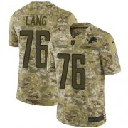 Wholesale Cheap Nike Lions #76 T.J. Lang Camo Youth Stitched NFL Limited 2018 Salute to Service Jersey