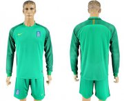 Wholesale Cheap Greece Blank Green Goalkeeper Long Sleeves Soccer Country Jersey