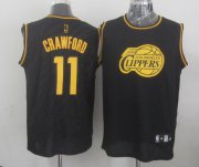 Wholesale Cheap Los Angeles Clippers #11 Jamal Crawford Revolution 30 Swingman 2014 Black With Gold Jersey