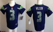 Wholesale Cheap Toddler Nike Seahawks #3 Russell Wilson Steel Blue Team Color Stitched NFL Elite Jersey