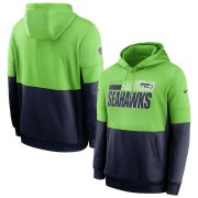 Wholesale Cheap Seattle Seahawks Nike Sideline Impact Lockup Performance Pullover Hoodie Neon Green College Navy