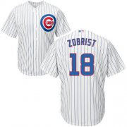 Wholesale Cheap Cubs #18 Ben Zobrist White Home Stitched Youth MLB Jersey