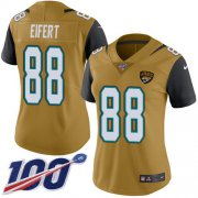 Wholesale Cheap Nike Jaguars #88 Tyler Eifert Gold Women's Stitched NFL Limited Rush 100th Season Jersey
