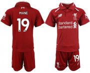 Wholesale Cheap Liverpool #19 Mane Red Home Kid Soccer Club Jersey