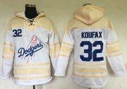 Wholesale Dodgers #32 Sandy Koufax White Sawyer Hooded Sweatshirt Baseball Hoodie