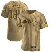 Wholesale Cheap Nike San Diego Padres #13 Manny Machado Men's Nike Tan Brown Authentic Alternate Player Jersey